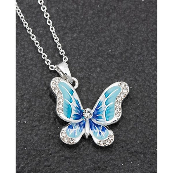Handpainted Elegant Butterfly Necklace Blue